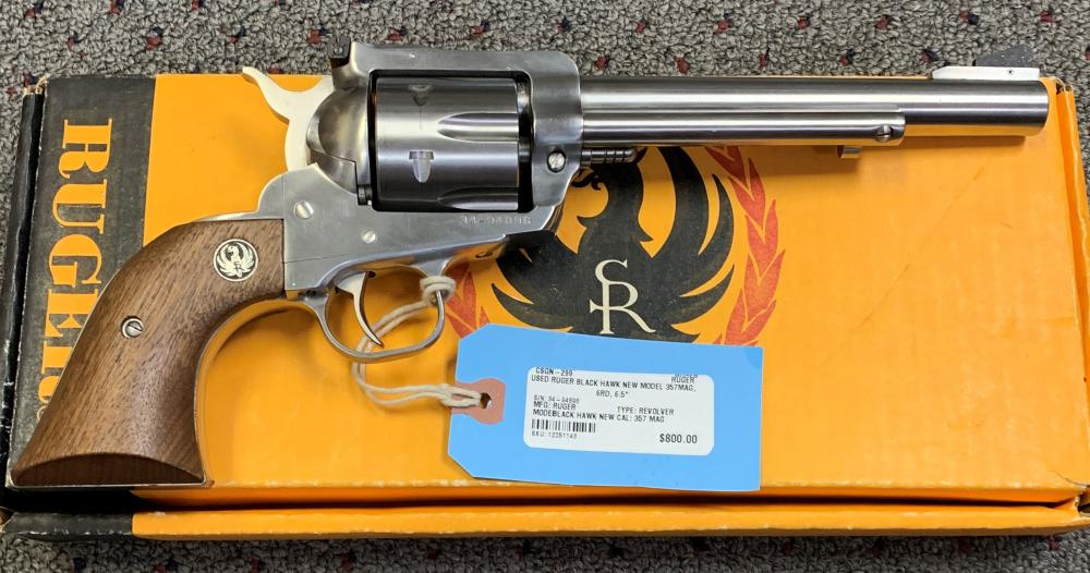 PRE-OWNED RUGER BLACK HAWK NEW MODEL 357MAG, 6RD, 6.5